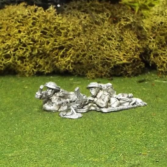 28mm BEF Bren Gun Team Prone with Helmet Covers.