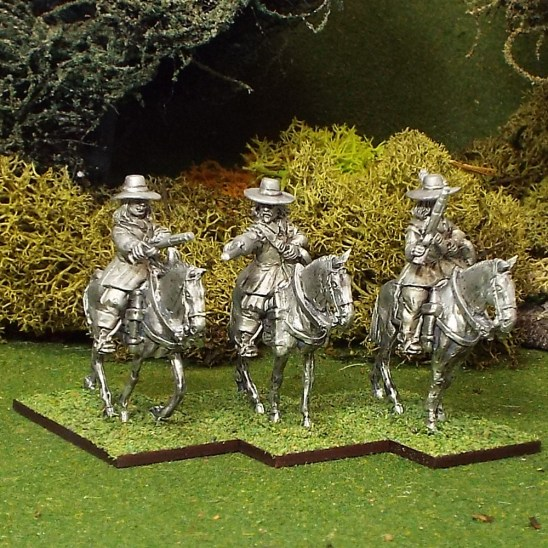 ECW Troopers with Pistols, Buff Coat, Brimmed Hat, Walking Horses.