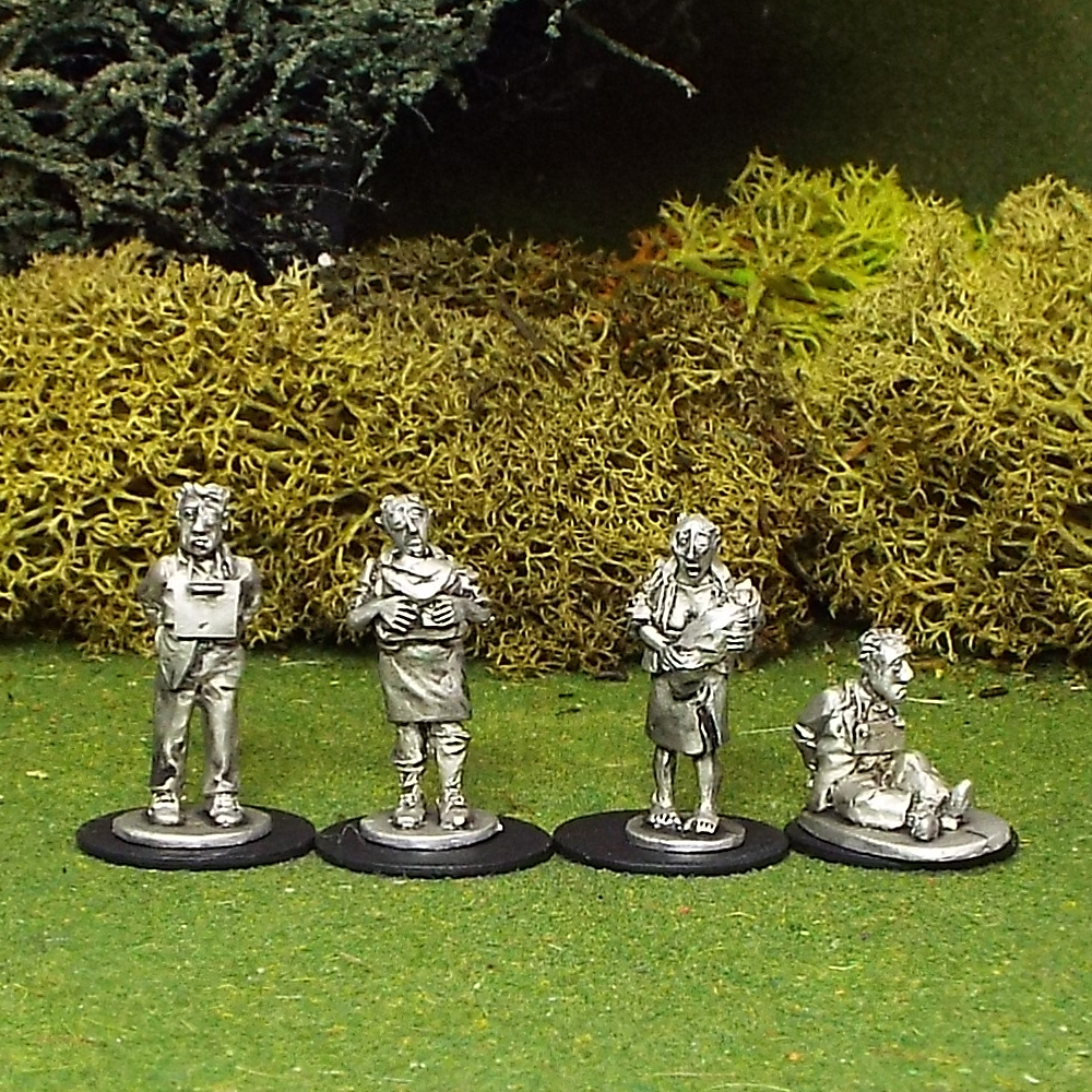28mm Collaborators. Includes 4 assorted Collaborators.. Supplied unpainted. Sculpted by  Mark Fuller.