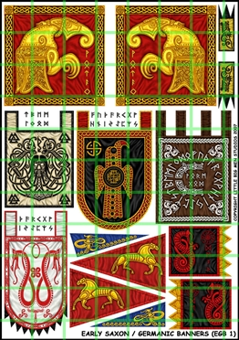 Early Saxon Banners. Assorted banners suitable for Early Saxons
