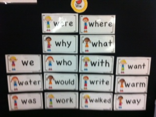 sight words on the word wall