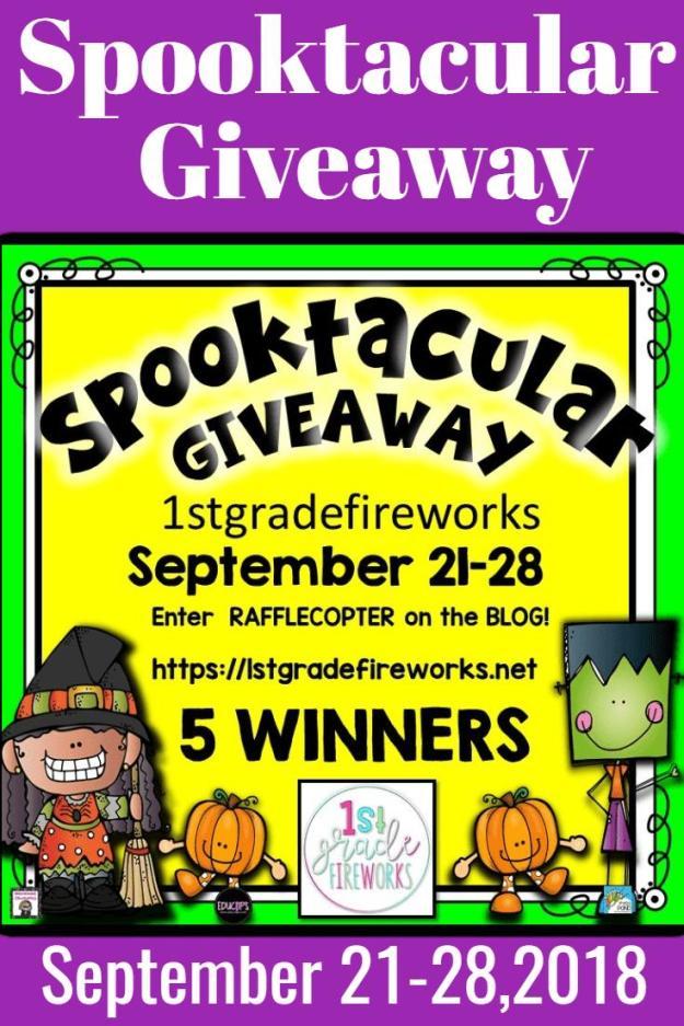 Spooktacular Giveaway Sept. 21-28 from 1stgradefireworks. Enter rafflecopter at https://1stgradefireworks.net