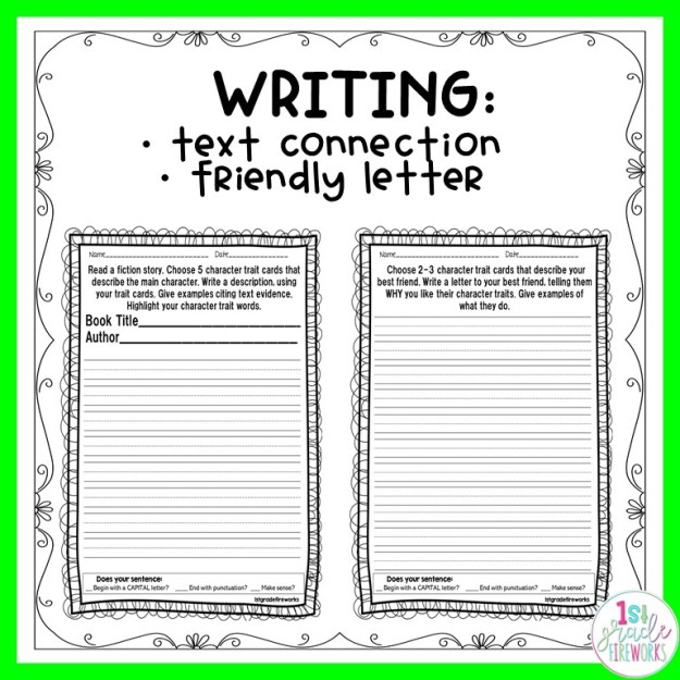 Character Traits for Reading and Writing. How to help young students interact with story characters through writing and text connections.