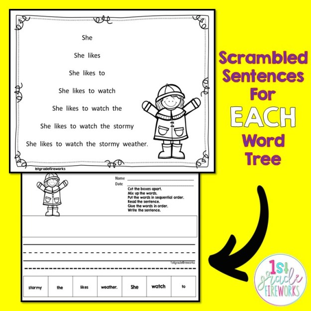 Spring Word Trees for reading fluency.  Whole page or booklet style.UPDATED with new Scrambled sentences extensions.