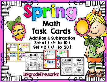 Spring Math Task Cards Addition and subtraction