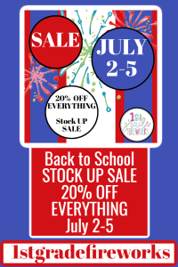 1stgradefireworks Back to School TpT SALE in JULY