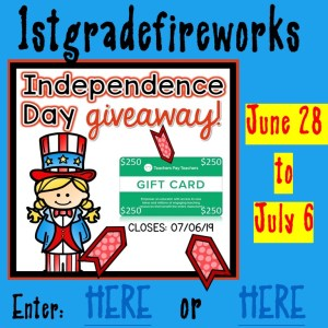 Independence Day GIVEAWAY $250 TpT Giftcard June 28-July 6