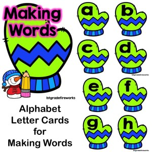 When Snowmen Go To School Letter Cards for Making Words