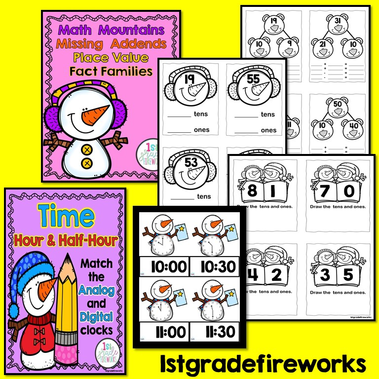 When Snowmen Go To School Math Worksheets