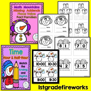 When Snowmen Go To School Math Worksheets
