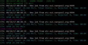 RX580 24.4 MHs on stock clocks mining ethereum