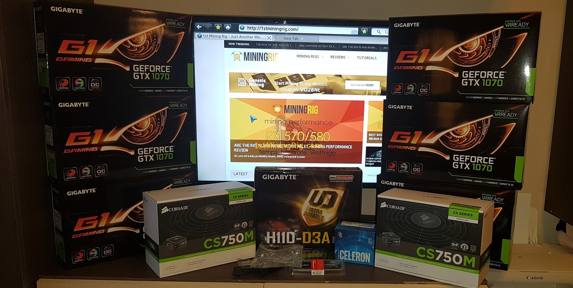 Nvidia Gigabyte GeForce GTX 1070 G1 Gaming Mining Rig Tutorial - 1st