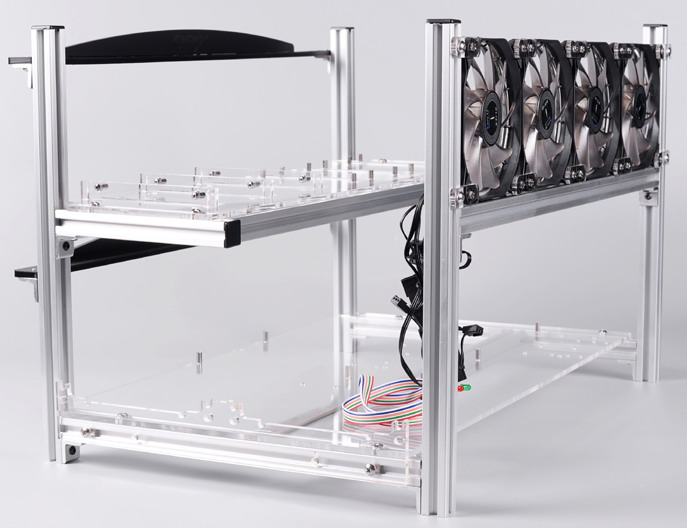 1stMRB Stackable 6x GPU Aluminum Mining Rig Frame - Silver - 1st ...