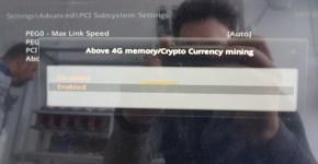 MSI Z370 SLI Plus Above 4G Memory Crypto Currency Mining setup