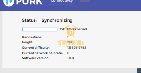 Purk GUI Wallet syncronizing