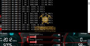 MSI GTX 1080 Ti T-Rex 0.5.1 Lyra2z Mining Hashrate