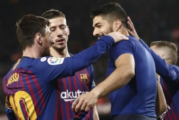 Late goals from Suarez, Messi sink Atletico after Costa sees red