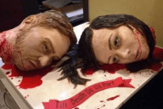 Couple create gruesome wedding cake made of their own severed heads