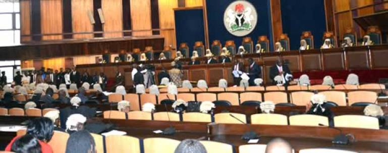 Justice Ibrahim Muhammad, judges in chamber, the symbol of justice with blindfolds, Buhari,