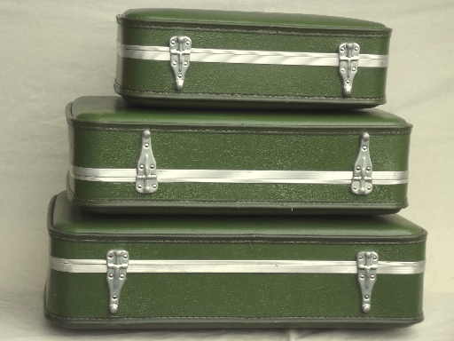 60s 70s Vintage Luggage Set Avocado Green Suitcases