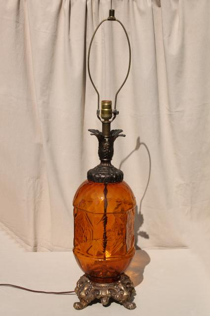 60s Vintage Amber Glass Lamp Hippie Gypsy Style Huge