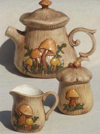 70s Retro Mushrooms Ceramic Kitchen Set Vintage Tea Pot Creamer Amp Sugar