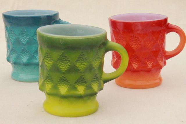70s Vintage Fire King Kimberly Glass Coffee Mugs Retro