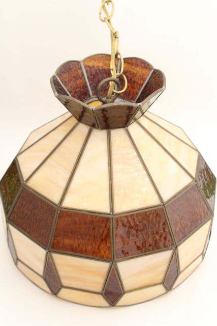 70s Vintage Swag Lamp Pendant Light W Amber Amp Caramel Slag Stained Glass Leaded Glass Shade