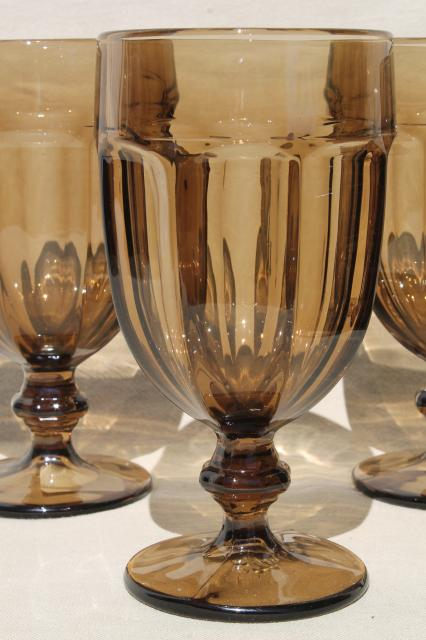 Libbey Gibraltar Mocha Brown Smoke Iced Tea Water Goblets