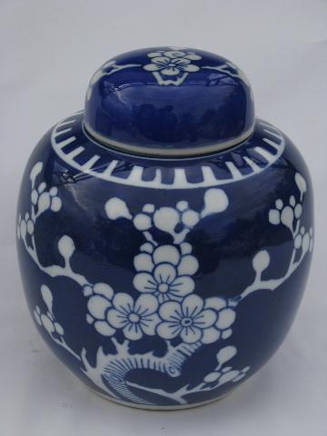 Cherry Blossoms Vintage Porcelain Ginger Jars Blue
