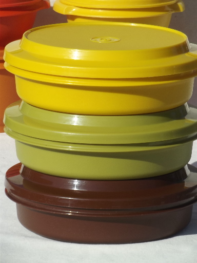 Retro 70s Tupperware Containers Amp Tumblers In Harvest Gold Orange Green