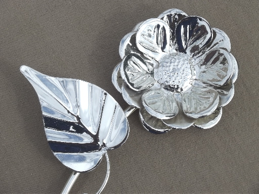 Silver Chrome Flower Wall Art Vintage Metal Sculpture Full Blown Rose