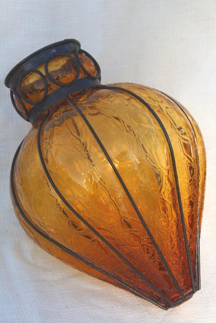 Vintage Wrought Iron Lantern Pendant Light Fixture