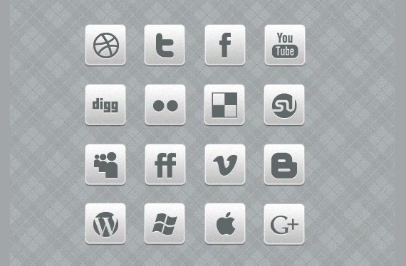 Clean Black And White Social Media Icon Set