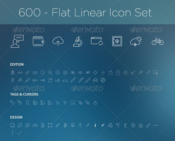 600 Flat Linear Icon Set