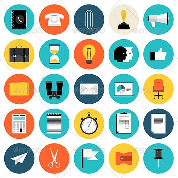 Marketing and Business Flat Icons Set