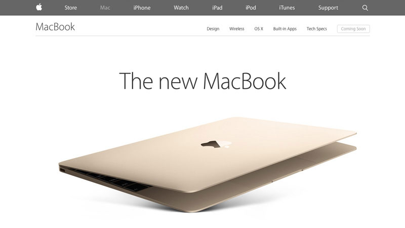 Apple MacBook has designed a super long single page to represent its new product.