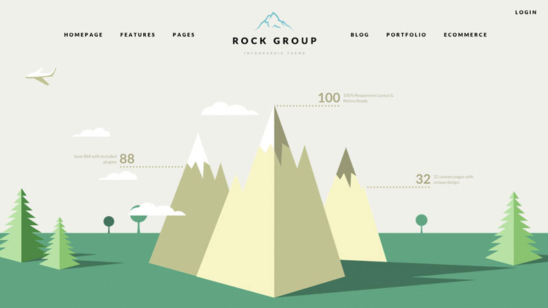 Rock Group is a unique and highly customisable flat design infographic style theme for WordPress.