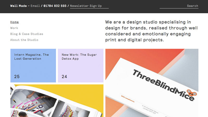 Well Made Studio combines pastel color palette with clearly defined cards for content pieces laid out in an organised grid.