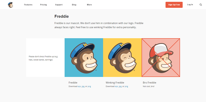 The Mailchimp guide includes logo in PNGs and EPSs, Freddie, brand color, and app screenshots