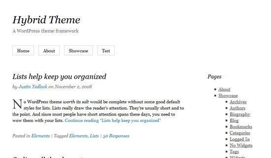 Hybrid free wordpress theme