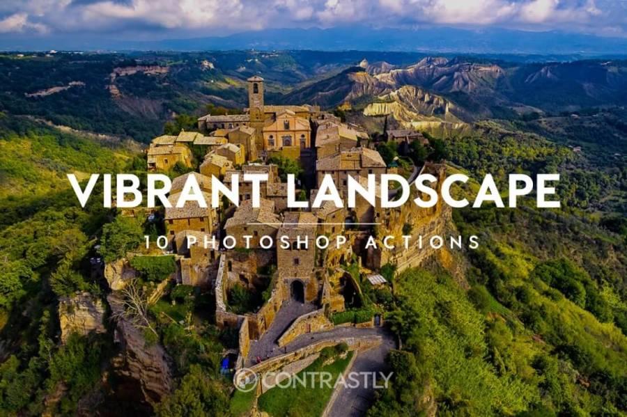Vibrant Landscapes Photoshop Action Bundle Contrastly