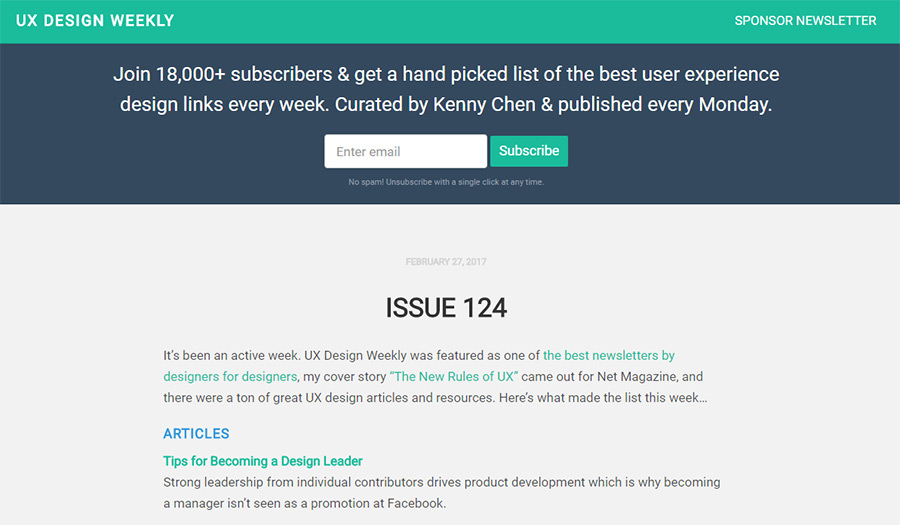 ux design weekly newsletter
