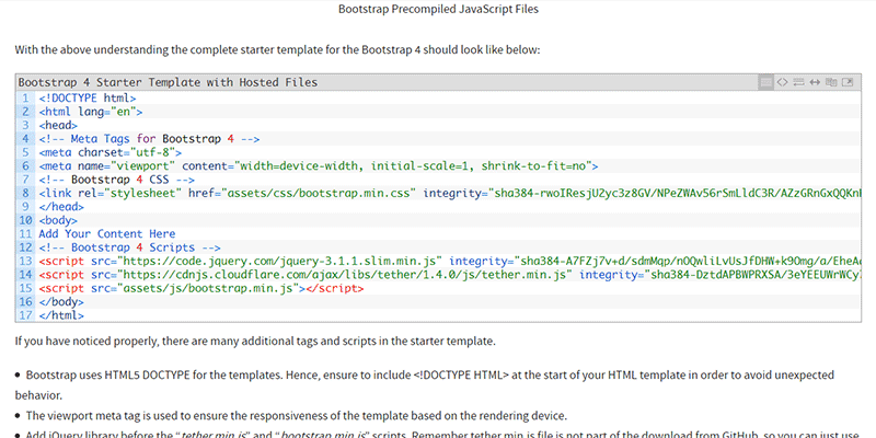 Bootstrap 4 Starter Template bootstrap template