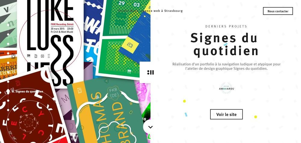 Studio Meta split screen web design layout