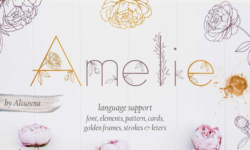 Example of Amelie Floral Display Font by Alisovna