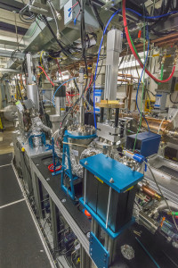 Photo - A view of the ultraast electron diffraction (UED) beamline at APEX. (Roy Kaltschmidt/Berkeley Lab)