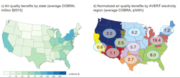 Annual GHG and air quality benefits of the 20 GW of solar power installed by the end of 2014 by region or state
