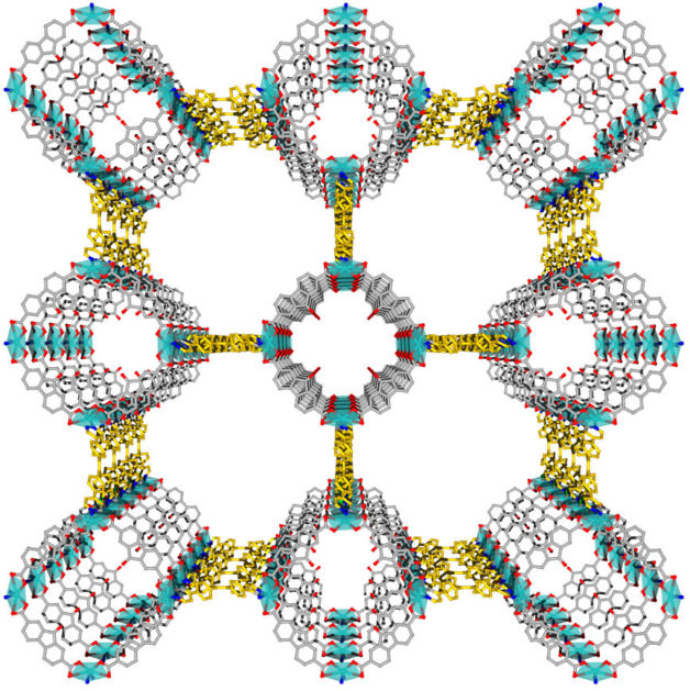 Image - A research team used Berkeley Lab's Advanced Light Source to determine the structure, shown here, of a luminescent metal-organic framework known as LMOF-261. The chemical components and large channels in the LMOF allow it to trap heavy metals. (Credit: Rutgers University)