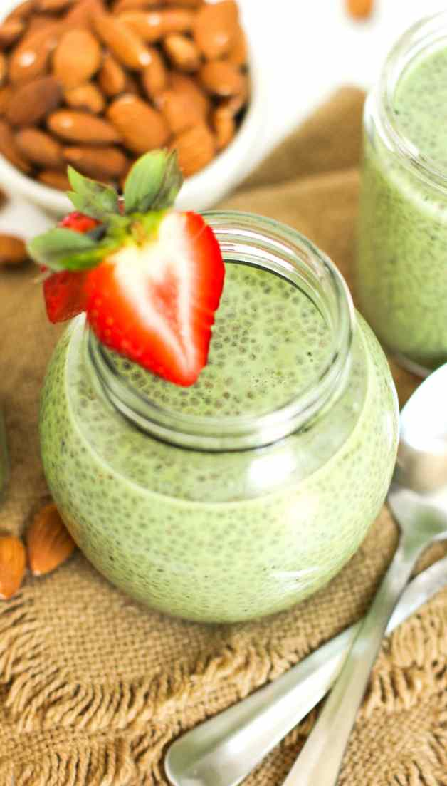 Healthy Matcha Green Tea Chia Seed Pudding (refined sugar free, low fat, low calorie, low carb, high fiber, gluten free, dairy free, vegan, raw, paleo) - Healthy Dessert Recipes at Desserts with Benefits